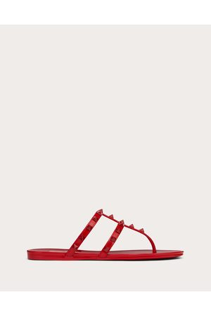VALENTINO GARAVANI Women Sandals - Rockstud Flat Rubber Sandal With Tonal Studs Women Rosso Valentino Pvc - Polyvinyl Chloride 100% 35