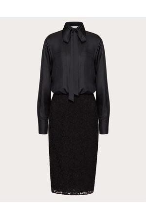 VALENTINO Women Midi Dresses - Stretch Heavy Lace Dress Women Silk 100% 36