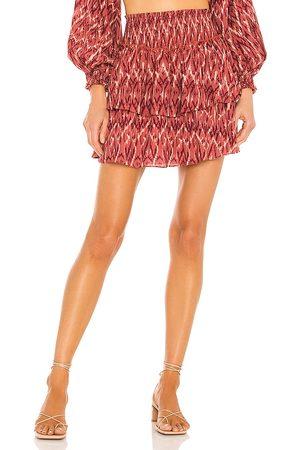 Minkpink Neiki Tiered Mini Skirt in Red.