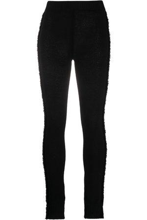 Marni Frayed ribbed-knit leggings