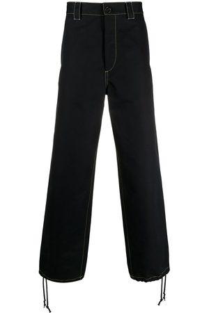 Marni Contrast-stitching straight-leg trousers