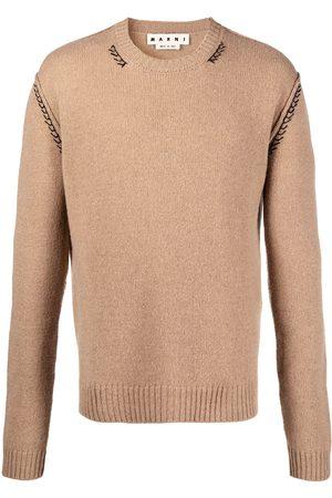 Marni Men Sweatshirts - Embroidered cashmere-blend jumper - Neutrals