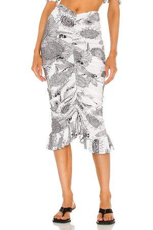 Norma Kamali Women Midi Skirts - Shirred Ruffle Skirt in White.
