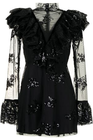 Macgraw Women Mini Dresses - Sheer panel sequin minidress