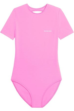 Balenciaga Women Swimsuits - Open-back short-sleeve swimsuit