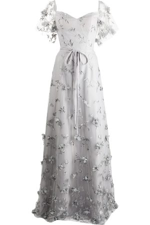 Marchesa Notte Portici floral-embroidered dress - Grey