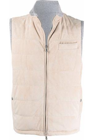 Brunello Cucinelli Men Gilets - Zipped padded cashmere gilet - Neutrals