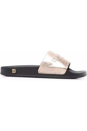 Balmain Women Sandals - Calypso metallic slides