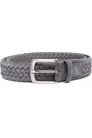 Scarosso Men Belts - Woven-detail suede belt - Grey