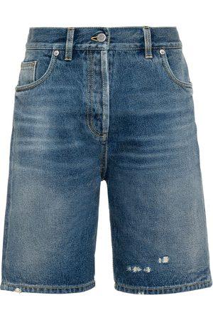 Prada Women Bermudas - Distressed denim Bermuda shorts