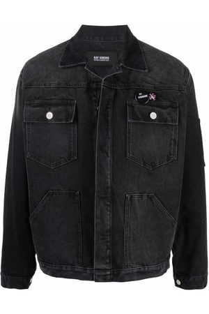 RAF SIMONS Men Denim Jackets - Text-print denim jacket