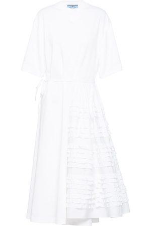 Prada Asymmetric side-tie T-shirt dress