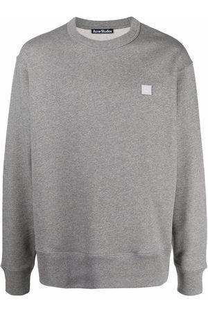 Acne Studios Sweatshirts - Face patch cotton sweatshirt - Grey
