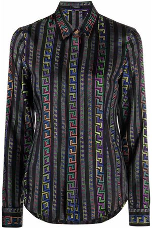 VERSACE Greca Neon-print silk shirt