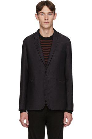Paul Smith Navy & Brown Wool Zig-Zag Mid-Fit Blazer