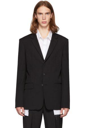 ISABEL BENENATO Black Wool Lightweight 3-Button Blazer
