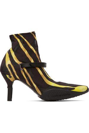 Marine Serre Black & Yellow Jersey Sock Ankle Heel Boots