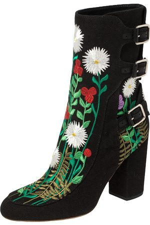 Laurence Dacade Flower Embroidered Canvas Ankle Boots Size 40.5