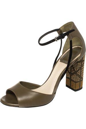 Dior Olive Leather Rainbow Stellar Block Heel Ankle Strap Sandals Size 36