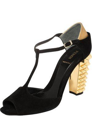 Fendi Suede Studded Heel T Strap Sandals Size 39