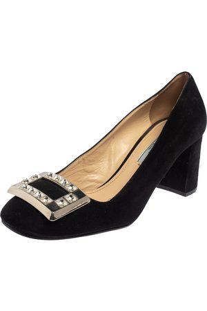 Prada Suede Block Heel Pumps Size 37.5