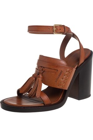 Burberry Leather Bethany Tassel Detail Block Heel Ankle Strap Sandals Size 39