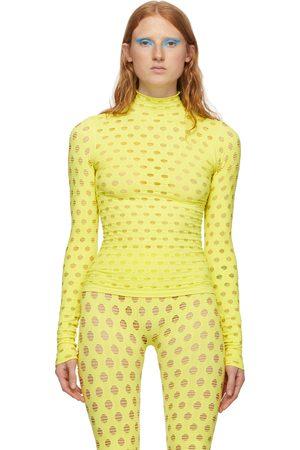 Maisie Wilen Women High Necks - Yellow Perforated Turtleneck