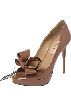 VALENTINO Brown Patent Leather Bow Peep Toe Platform Pumps Size 35