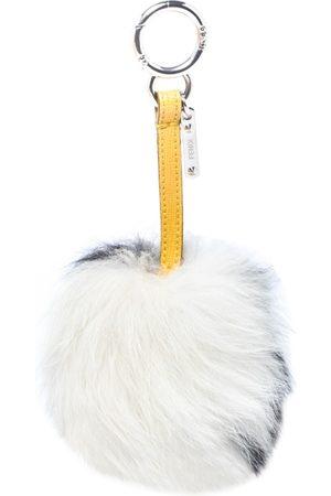 Fendi Women Luggage - Monochrome Fox Fur Pom Pom Keyring/ Bag Charm