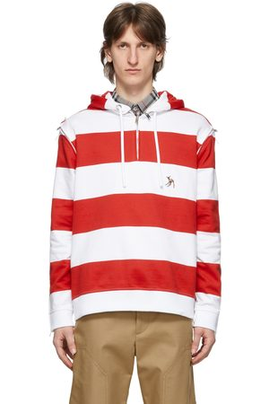 Burberry Red & White Striped Multi Zip Hoodie
