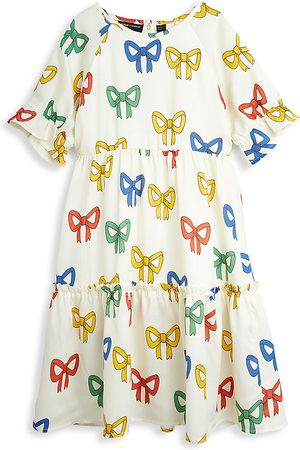 Mini Rodini Little Girl's & Girl's Tiered Bow-Print Dress - Off - Size 6