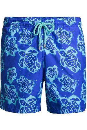 Vilebrequin Men's 2003 Turtle Shell Swim Shorts - Bleu De Mer - Size Medium