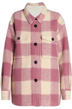 Isabel Marant Women's Harveli Felted Wool-Blend Check Jacket - Rosewood - Size 2