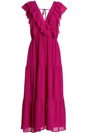 WAYF Women's Ruffled Sleeveless Tiered Dress - Magenta - Size Large