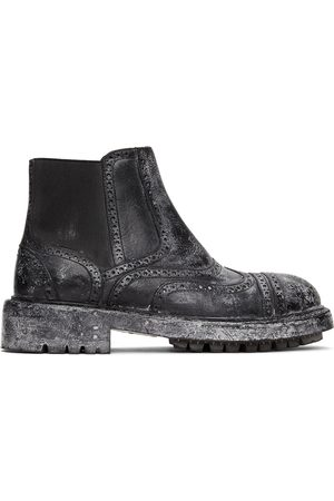 Dolce & Gabbana Black Leather Vintage-Look Chelsea Boots