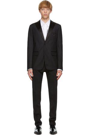 Dsquared2 Men Blazers - Black Wool & Silk Logo Blazer