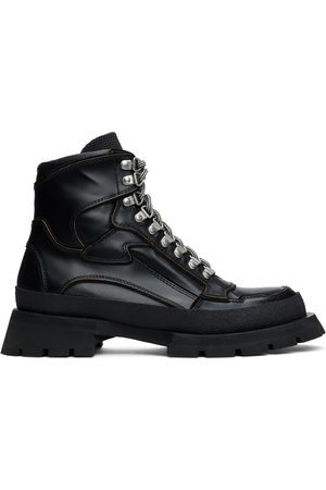 Jil Sander Black Leather Lace-Up Boots