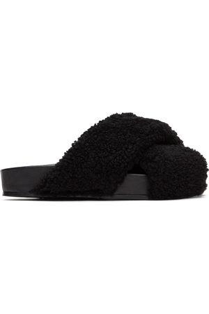 Jil Sander Black Fuzzy Sandals