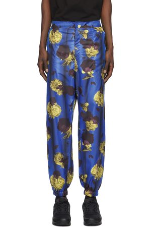 Opening Ceremony Blue Satin Floral Trousers
