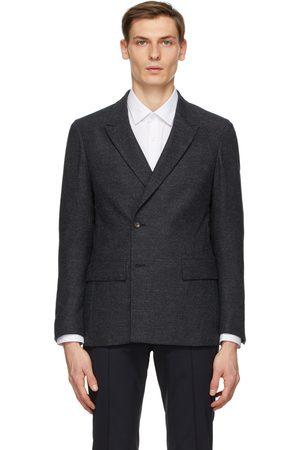 Z Zegna Grey Wool Double-Breasted Blazer