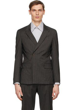 Z Zegna Grey Wool Striped Double-Breasted Blazer