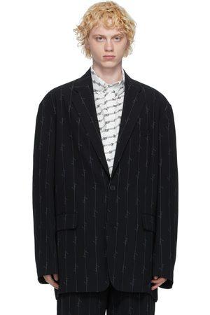 Balenciaga Black Striped Signature Logo Blazer