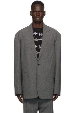 Balenciaga Black & White Check Boxy Blazer