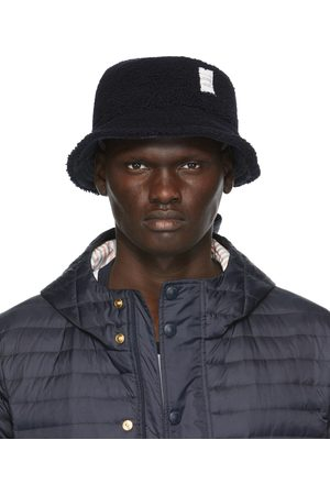 Thom Browne Navy Shearling Bucket Hat