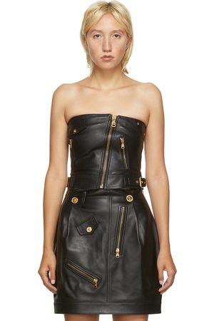 VERSACE Black Leather Corset