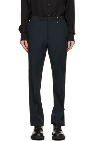 Rochas Navy Wool Canvas Trousers