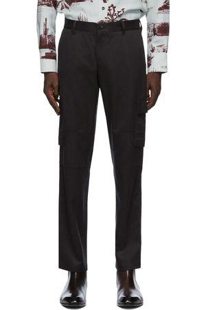 BRIONI Men Cargo Pants - Black Silk Twill Cargo Pants