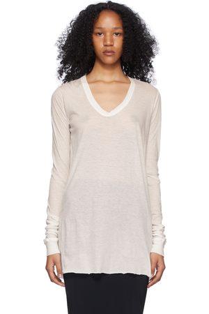 Rick Owens White Cotton Unstable Long Sleeve T-Shirt