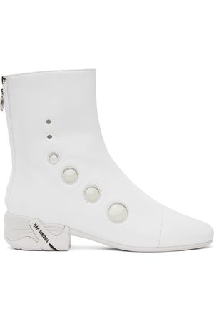 RAF SIMONS White Solaris-21 High Zip-Up Boots