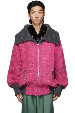 We11 Done Pink & Grey Voluminous Pile Zip-Up Sweater